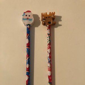 Brand New Santa and Snowman Pencils w/ Top Erasers
